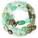 Natural Stone Beads for Jewelry Making,A Strand Semi-Precious Oval Gemstone Crystal Acrylic Loose Beads for Necklace Earring Bracelet Pendant DIY Jewelry Making- Chrysoprase