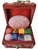 Chakra Self Love Healing Crystal Collection in Treasure Chest, 9 PCS 1 Large Rose Quartz Palm Stone 8 Chakra Tumbled Stones Guide Self-Love Affirmations The Sacred Gift,Self Worth,Spirituality