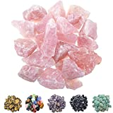 FORBY 1 lb Bulk Rose Quartz Rough Stones - Large 1' Natural Raw Stones Crystal for Tumbling, Cabbing, Fountain Rocks, Decoration,Polishing, Wire Wrapping, Wicca & Reiki Crystal Healing