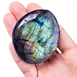 UFEEL Labradorite Palm Stone Crystal - Natural Chakra Reiki Polished Healing Pocket Worry Stone Crystal for Anxiety Stress Relief Therapy